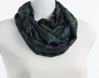 Infinity scarf with a Burnout Pattern - Rich Blue with a Subtle Lime in Floral Design upon a Sheer Background ~ SH239-L1