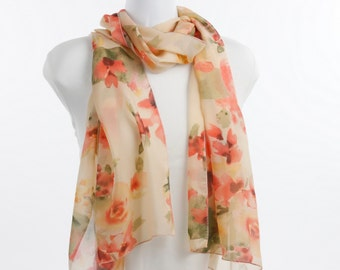 Traditional Scarf in a Vintage Look  - Silky Chiffon Sheer Shades of Apricot, Tangerine and Peach Floral ~ SH242-L1