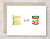 Valentine Card, Anniversary Card - Chips & Dip - Cute Love Card - Salsa, Nachos - Friendship Card - One Year, 1st Year Anniversary Card