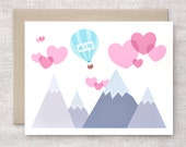 Valentine Card, Cute - Love is in the Air - Cute Wedding Anniversary Card, Engagement Card - Recycled Card - Hearts, Mountains, Funny