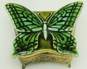VTG Glazed Ceramic Green Butterfly Moth Ornate Metal Ormolu JAPAN Trinket Jewelry Box Vanity Dresser Accessory Gold Tone Red Velvet
