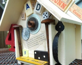 Funky . Whimsical . Decorative Birdhouse . Handcrafted . Salvaged Elements
