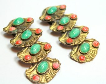 Very Rare Pair Of Vintage Art Deco Brass Metal Pink and Green Peking Class Clam Shell Design Dress Fur Clips