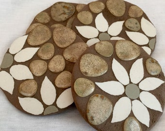 Handcrafted Flannel Flower coasters. Ready to ship