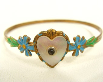 REDUCED was 32.22 vintage 40s Child's Girl's Brass Mother of Pearl Heart Bracelet with Rhinestone Center and Blue & Green Enamel Flowers