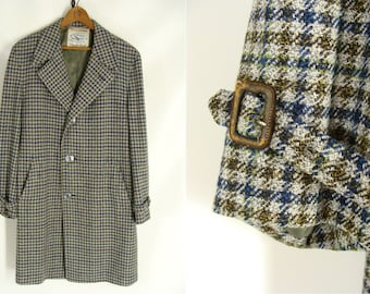 vintage men's overcoat. 60s Green Blue Gold Checked Plaid Hincky Freeman Coat. Hand Customized. Flight Coat. Bachrachs Overcoat. size 44 M L