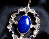 Vintage Marianna Richard Jacobs Sterling Silver Lapis Moonstone Pendant