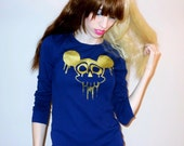 Navy Blue DRIPPY MOUSE Long Sleeve Top Sizes Extra Small, Small, Medium, Large