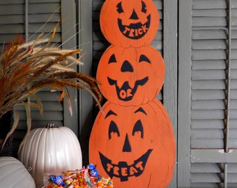 Pumpkin Stack Decor Jack-O-Lantern Decor Trick or Treat Halloween Decoration