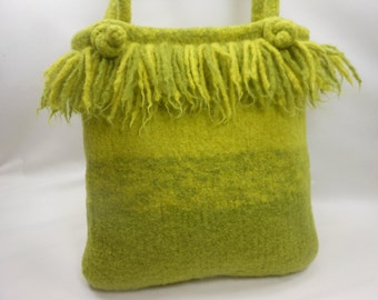 Dreadlock Fringed Hand Knit Felted Wool Purse in Lemongrass and Green