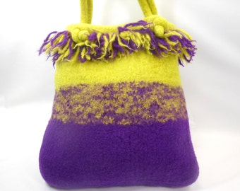 Dreadlock Fringed Hand Knit Felted Wool Purse in Lemongrass and Purple