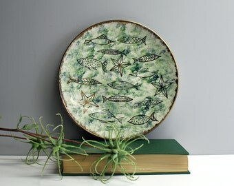 Mid century decorative fish plate - line art modern fish - vintage 1950s hand painted DIY plate - plate wall decor - Holland mold