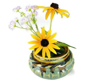 Green vase ikebana green flower vase japanese kenzan vase with stainless steel pin frog item #1420