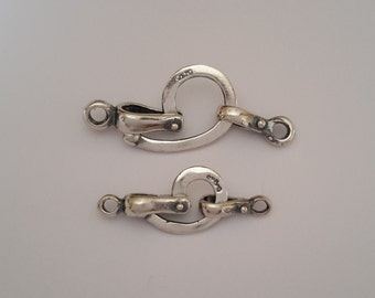 2 Sterling Silver 925 hinged hook and eye clasp set beads Medium