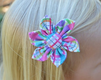 Child's Hair Bow Flower or Hair Bow Tie -  Pick Any Fabric In Shop