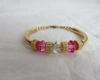Vintage Gold Filled and Pink and White Faux Crystal Bracelet