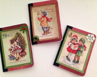 Christmas notebooks altered mini composition notebook journals vintage christmas