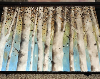 Already Made Payment Plan Avaliable Birch Trees Falling Leaves Oil Painting 37x26x1.5""