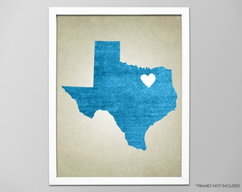 Texas State Map Art Print, Personalized State Map, Customizable State Map Art Print, Home State Map Art Print, Lone Star State Map Art Print