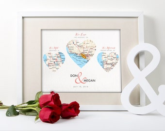 FREE US SHIPPING, Personalized Engagement Gift, Map Hearts Print, Three Hearts, Engagement Wedding Anniversary Gift Idea, Customizable Print