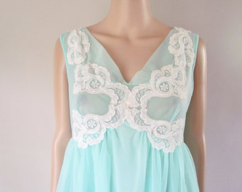 Lovely Vintage BABY DOLL CHIFFON Lacy Nighty, Aqua-Blue  by Dorsay 1960's70's