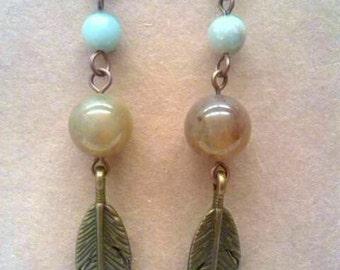 Bronze Feather Earrings - African Opal Earrings - Indian Agate Earthy Gemstone Earrings