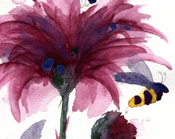 Fine Art Print of Bees and Thistle,  Modern Botanical Art Print, 8 x 10 Botanical Art