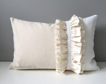 SALE - Victorian Pillow Cover, Decorative Cream Ruffled Throw Pillow, Shabby Chic Pillow Cover, Pretty French Country Ivory Cushion Cover