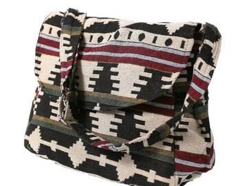 Hippie Hobo Messenger Bag Hmong Camera Purse Handbag Hand Woven Canvas Cotton - IKM29