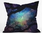 Throw Pillow. Dorm Decor.  Living Room Decor. Starry Night Sky. Stars and Moon Home Decor. Navy Purple. Dreamy. Trees. Surreal Sky. Green
