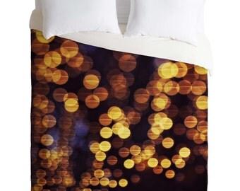 Duvet Cover. Bedding.  Bedroom Decor. Bokeh. Sparkling Lights. Gold and Navy Home Decor. Night. Glam. Girly. Glow. Pretty. Dorm Decor