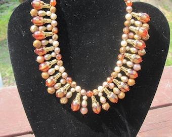 Amber/Brown Bead Bib Necklace