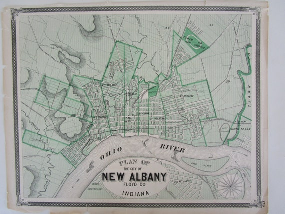 1876 NEW ALBANY IN Original Baskin Forster Atlas Plan Map Art