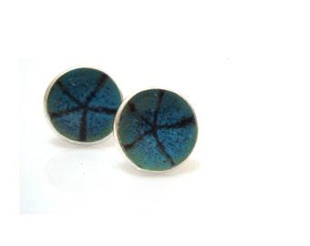 Sterling silver enamel stud earrings enamel jewelry post earrings fired on silver strafish earrings