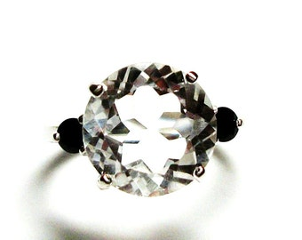 "Quartz ring, white quartz ring, 3 stone ring, white black, anniversary ring,  s 6 1/2   ""Tuxedo"""