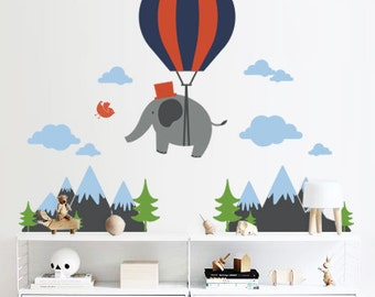 Wall Decal Hot Air Balloon Elephant - Nursery Wall Decor