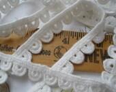 "Ivory White Half Circles applique Edging Lace Trim 1/2"" wide tatted look bobbin embellishment boho retro choose yardage cotton"
