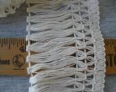 "Antique White 2.5"" wide Natural color Cotton Fringe trim retro choose yards yardage sewing crafts costume home decor boho hippie"