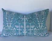 Ikat Mist Decorative Pillow Cover in Lacefield Bombay Fabric