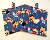 Pair of Roosters on Blue Denim Potholders, Set of Two Quilted Potholders
