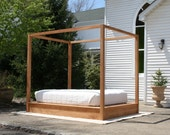 Low Platform Bed with large rail Canopy - natural color