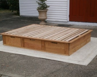 NdFsN06a Solid Hardwood Low Platform Bed or Tatami Bed with drawers, natural color
