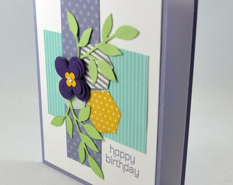 Happy Birthday Greeting Card, Birthday, Flowers, Leaves, Purple, Blue, Green, Hexagons, Polka Dots, Patterns, For Her, Stamped, Blank Inside