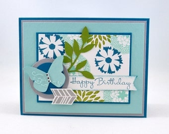 Happy Birthday Greeting Card, Birthday, Flowers, Leaves, Aqua, Blue, Teal, Green, Grey, Gray, For Her, Butterfly, Stamped, Blank Inside