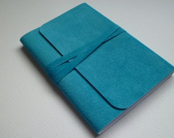 Leather Book Suede Journal Suede Notebook Travel Journal. Vibrant Turquoise Suede.