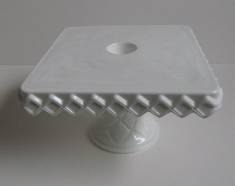 Vintage Milk Glass Cake Stand--1960s--Collectible Milk Glass Cake Plate