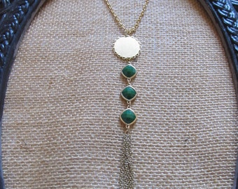 Gold Tassel Necklace--Green Stone with Gold Tassel--Handcrafted Necklace