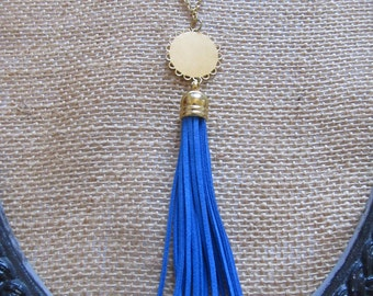 Tassel Necklace--Royal Blue Tassel Necklace with Gold Charm