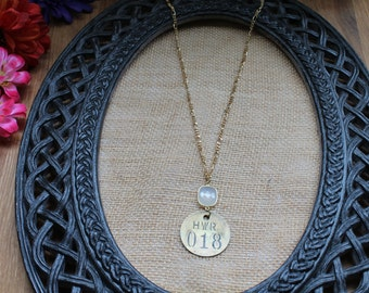 Vintage Necklace--Vintage Number Tag with Frosted Square Stone