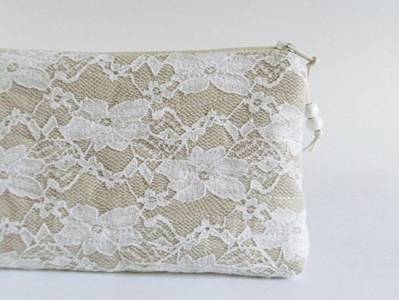 White Lace Purse, Nude Wedding Clutch, Clutch for Bride, Bridesmaid Gift Bag, Romantic Gift for Her